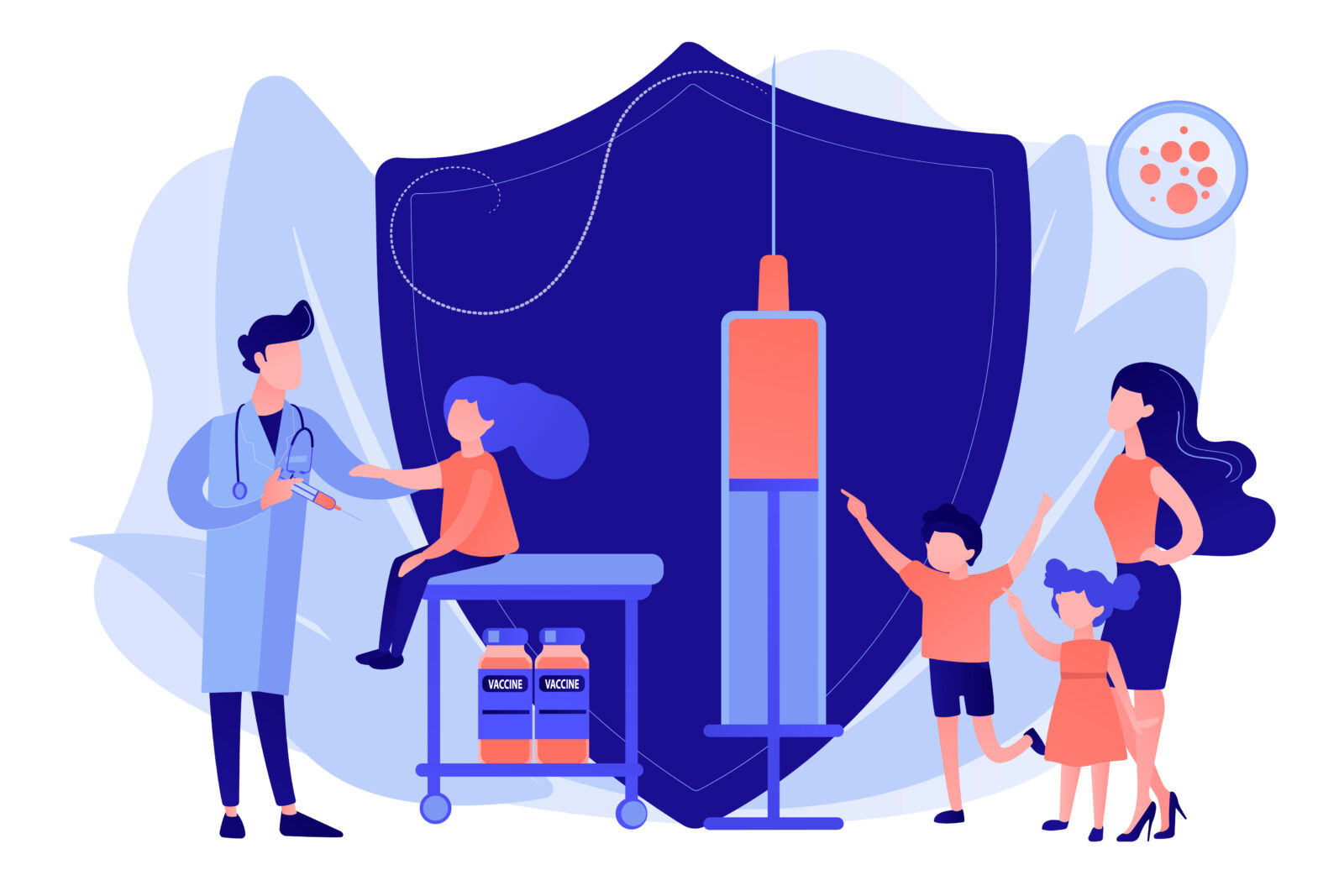 Vaccination of preteens and teens concept vector illustration
